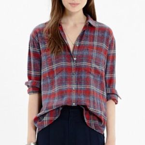 Madewell Shirt Plaid Red Pink Blue Purple High-Low